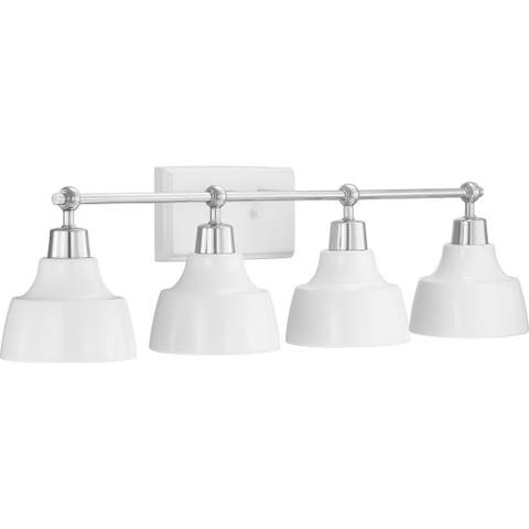 Bramlett Collection 4-Light Polished Chrome Coastal Bath Vanity Light