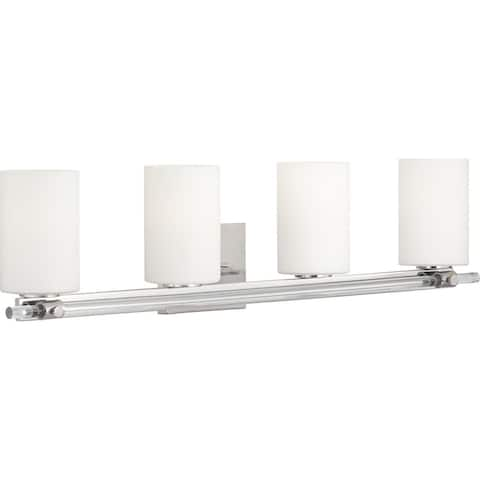 Lisbon Collection 4-Light Polished Nickel Etched Opal Glass Luxe Bath Vanity Light