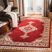 Safavieh Farmhouse Bohemian & Eclectic - Creme/Red Polyester Tassel Area Rug - 8' x 10'