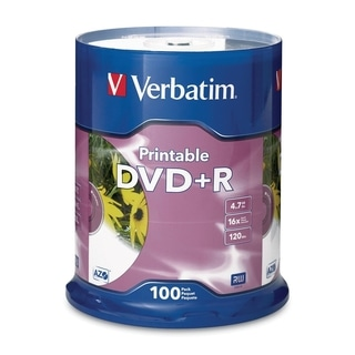 Verbatim DVD+R 4.7GB 16X White Inkjet Printable - 100pk Spindle - TAA