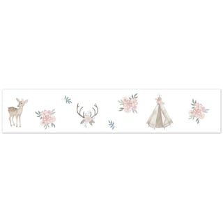 Sweet Jojo Designs Blush Pink, Mint Green and White Boho Woodland Deer Floral Collection Wallpaper Wall Border
