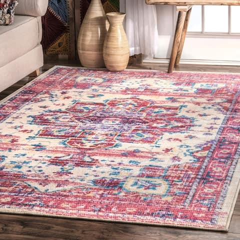 Porch & Den Castro Vintage Nylon Floral Medallion Border Area Rug