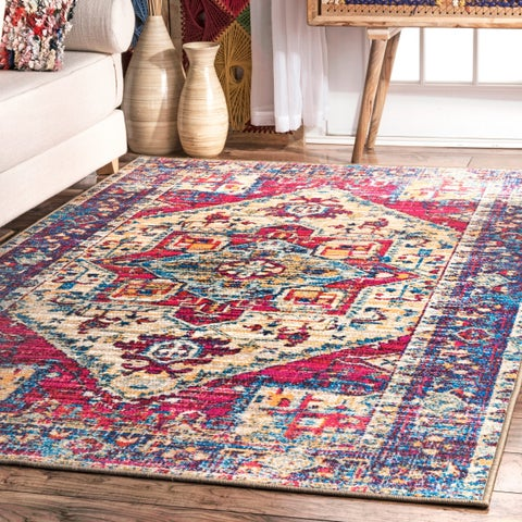 The Curated Nomad Broderick Vintage Nylon Chromatic Floral Medallion Border Area Rug