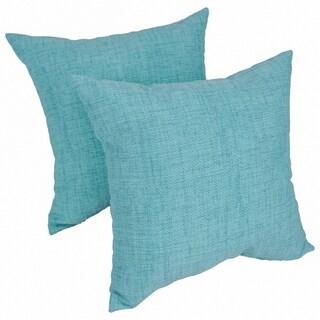 Solarium Aqua 17-inch Indoor/Outdoor Throw Pillows (Set of 2)