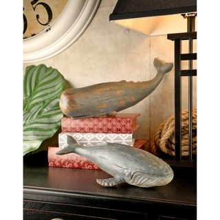 13-14 Inch POLYSTONE WHALE Set of  2
