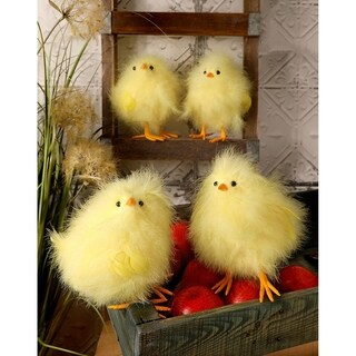 8-Inch Feather Fat Chicks Set of 4
