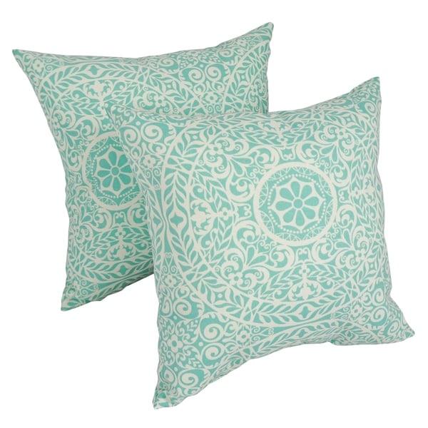 Solarium Tablita Aqua 17-inch Indoor/Outdoor Throw Pillows (Set of 2). Opens flyout.