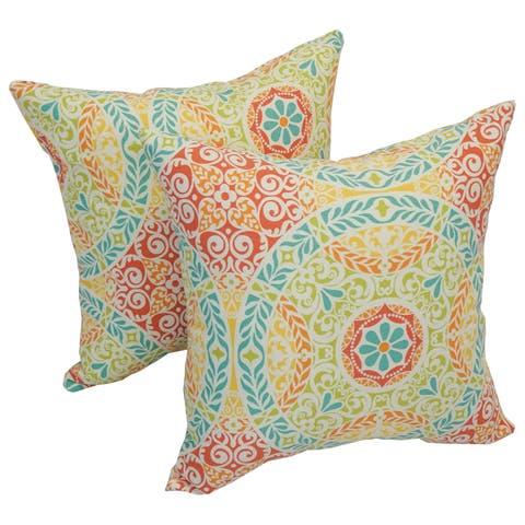 Solarium Crescent Spring 17-inch Indoor/Outdoor Throw Pillows (Set of 2)