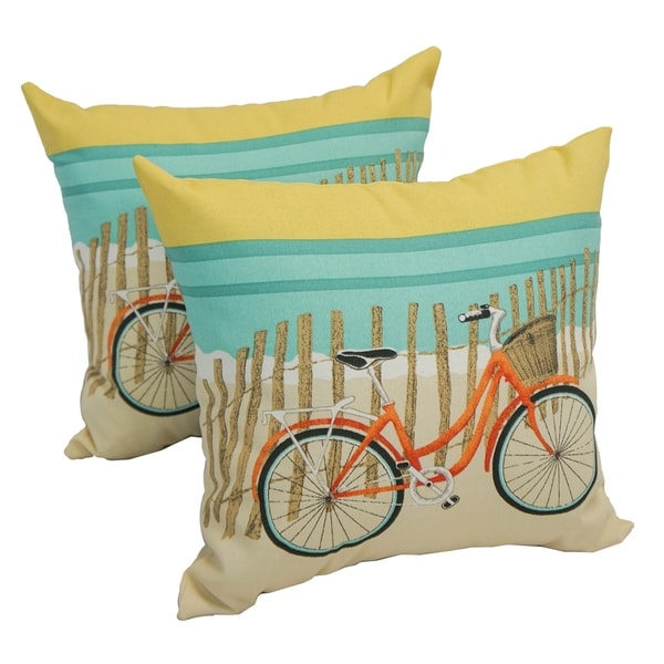 Solarium Bicycle Sunrise 17 Inch Indoor Outdoor Throw Pillows Set Of 2