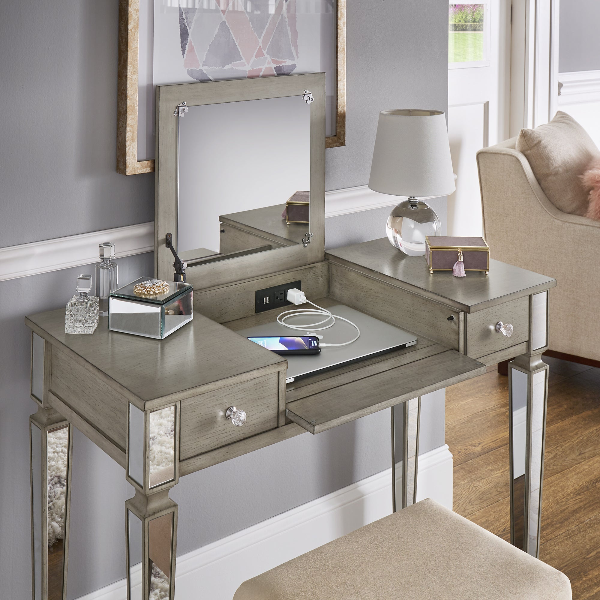 Silver Orchid Bedford Grey Mirrored Vanity Set With Flip Mirror And Power Strip Overstock 26298130