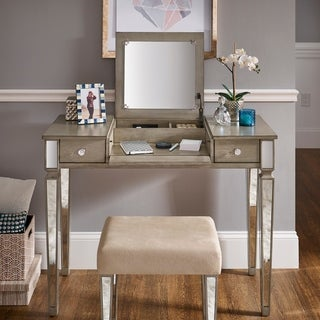 Silver Orchid Bedford Grey Mirrored Vanity Set with Flip Mirror and Power Strip