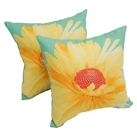 Solarium Daisy Teal 17-inch Indoor/Outdoor Throw Pillows (Set of 2)