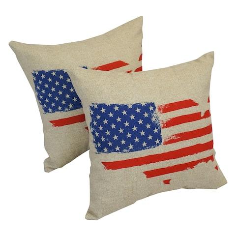 Solarium Spirit of America 18-inch Indoor/Outdoor Throw Pillows (Set of 2)