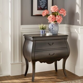 Darlene Antique Black Finish Bombe Nightstand by iNSPIRE Q Classic
