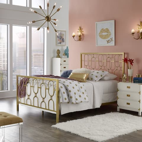 Silver Orchid Blandick Gold Finish Metal Bed