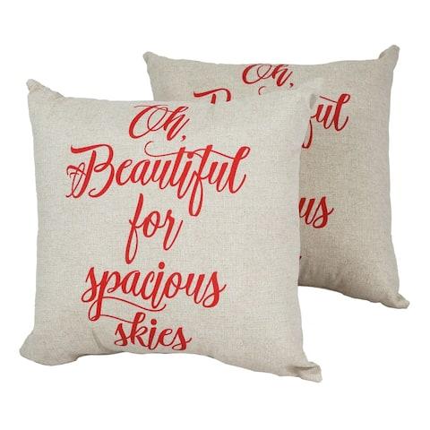 Solarium America the Beautiful 18-inch Indoor/Outdoor Throw Pillows (Set of 2)