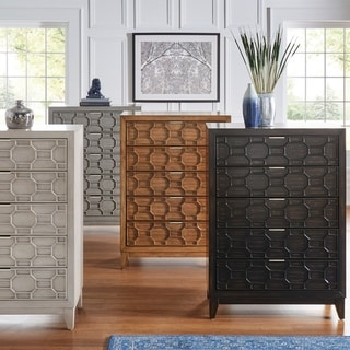 Carson Carrington Falhult Antique Finish Honeycomb Textured Chest