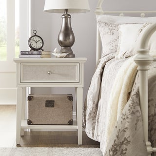 Thea White Finish Beige Linen Drawer Face 1 Drawer Nightstand by iNSPIRE Q Classic