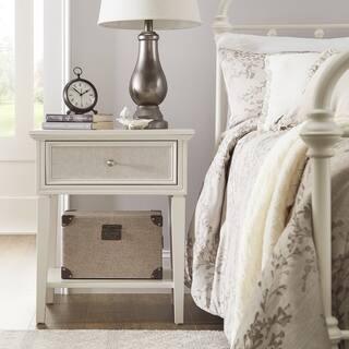 Copper Grove Bons White Finish Beige Linen Drawer Face 1-drawer Nightstand