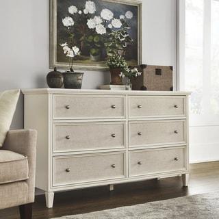Copper Grove Bons White Finish Beige Linen Drawer Face Dresser