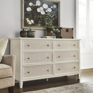 Copper Grove Bons White Finish Beige Linen Drawer Face Dresser