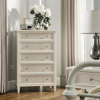 Thea White Finish Beige Linen Face 5-Drawer Chest by iNSPIRE Q Classic