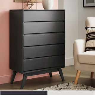 Carson Carrington Falmark Black 5-drawer Chest