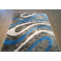 """Abstract Blue Gray Area Rug 4x6 - 4' x 5'4"""""""