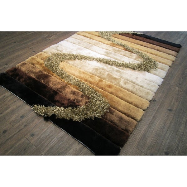 Shop Area Rug 4x6 Abstract Brown Beige 4 X 5 4 Quot Free
