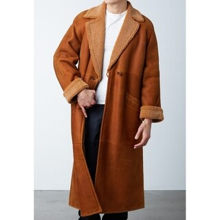 Men's Cognac Snow-Top Shearling Sheepskin Long Coat- Size Medium