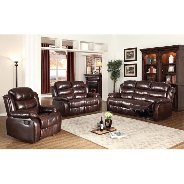 Brown Leather Recliner Sofa Set: Shop 3Pc Motion Brown Faux Leather Reclining Sofa