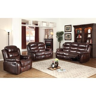 3Pc Motion Brown Faux Leather Reclining Sofa, Loveseat & Chair Set
