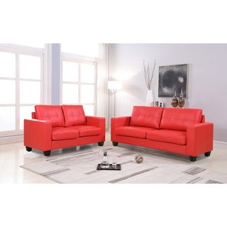 2Pc Contemporary Modern Red Leather Sofa & Loveseat Set