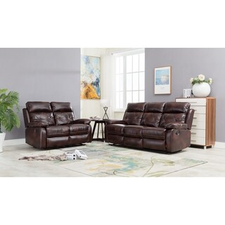 Double Reclining Sofa and Loveseat, Brown Pu Leather Livingroom Set