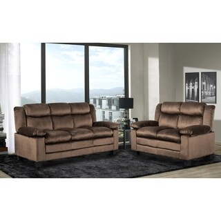 2Pc Chocolate Sofa & Loveseat Set