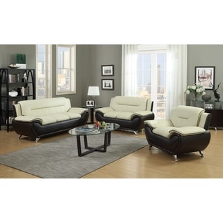 GTU Furniture Modern, Sleek Chic & Plush Microfiber and Rich Faux Leather Over-Stuffed Loveseat & Couch Sofa Set, Sofás de Sala