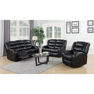 Black 3Pc Leather Reclining Sofa & Loveseat Set