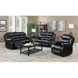 3Pc Motion Black Faux Leather Reclining Sofa & Loveseat Set