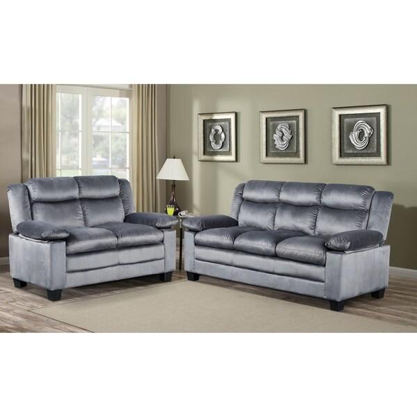 Shop Microfiber Grey Sofa And Loveseat Living Room Set Free