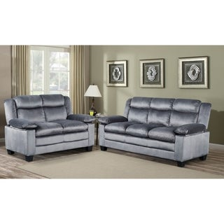 Microfiber Grey Sofa and Loveseat Living Room Set
