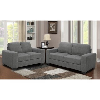 2Pc Grey Microfiber Sofa and Loveseat Living Room Set