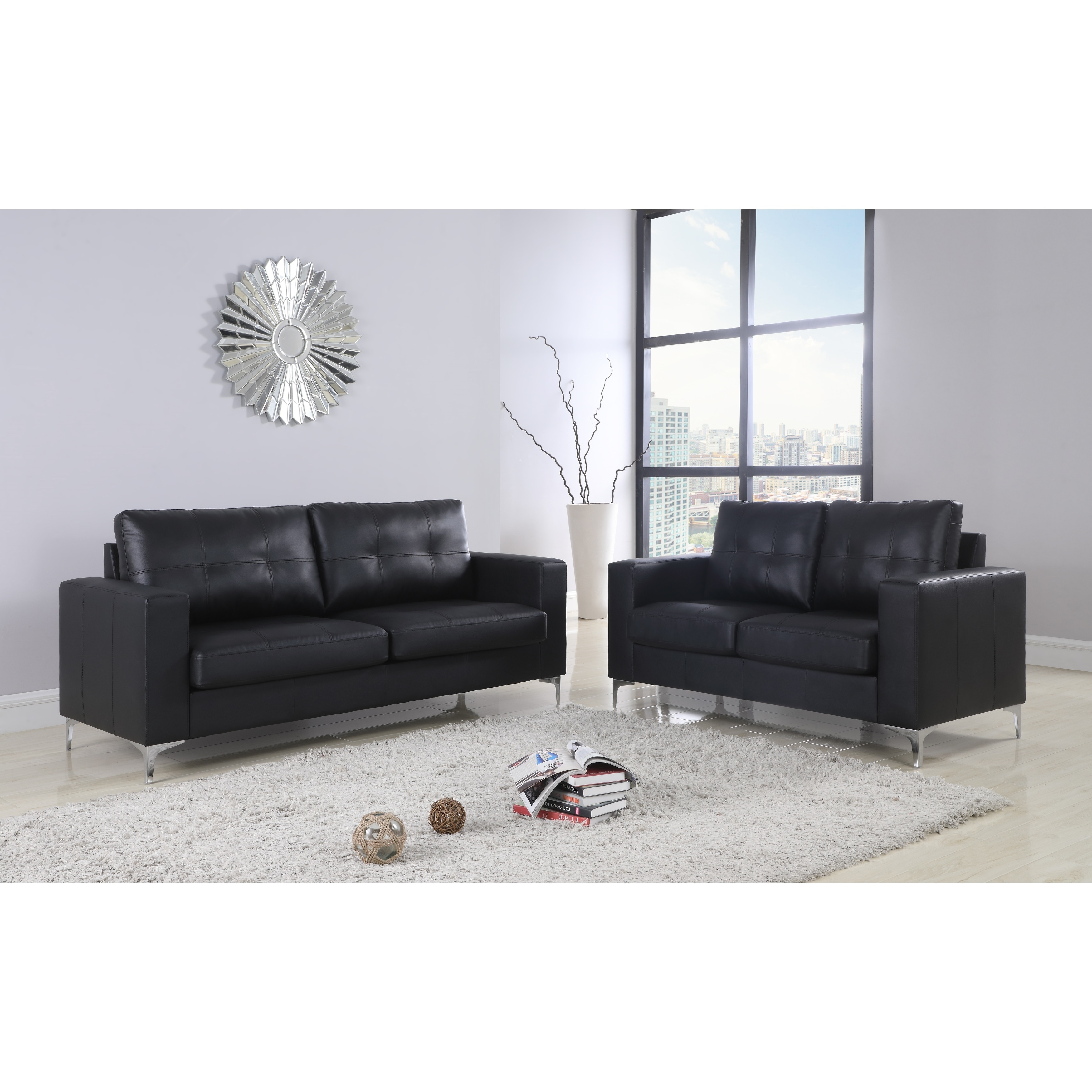Leather Sofa Loveseat With Chrome Leg