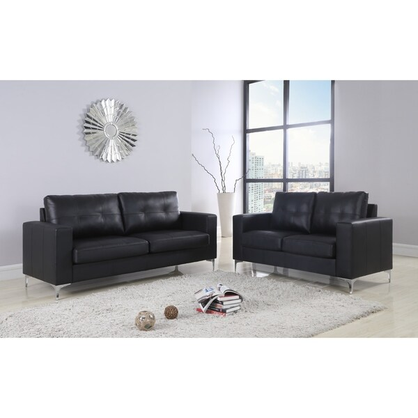 2Pc Contemporary Leather Sofa & Loveseat With Chrome Leg Set
