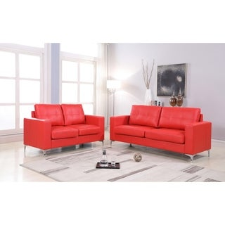 2Pc Contemporary Leather Sofa & Loveseat With Chrome Leg Set