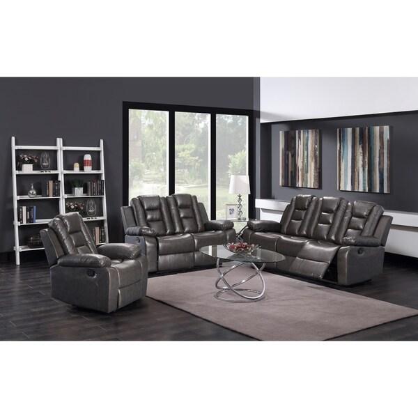 3Pc Grey Pu Leather Sofa Loveseat & Recliner Set