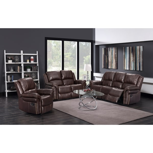 Fantastic 3Pc Brown Leather Reclining Sofa Loveseat Set Gmtry Best Dining Table And Chair Ideas Images Gmtryco
