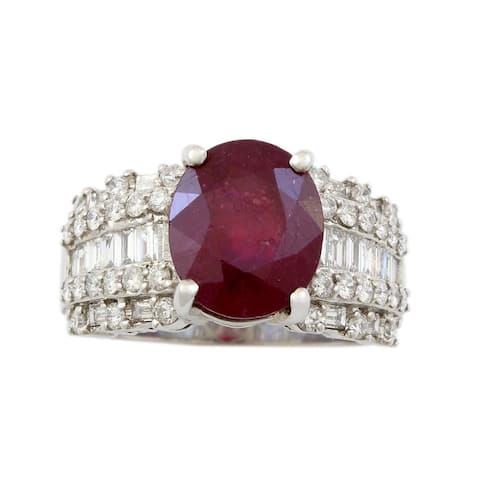 18K White Gold Diamond and Ruby Estate Cocktail Ring (H - I,SI1 - SI2) Size - 6.5