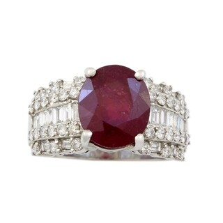 18K White Gold Diamond and Ruby Estate Cocktail Ring