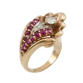 14K Rose Gold .65CT Diamond and Ruby Retro Estate Ring