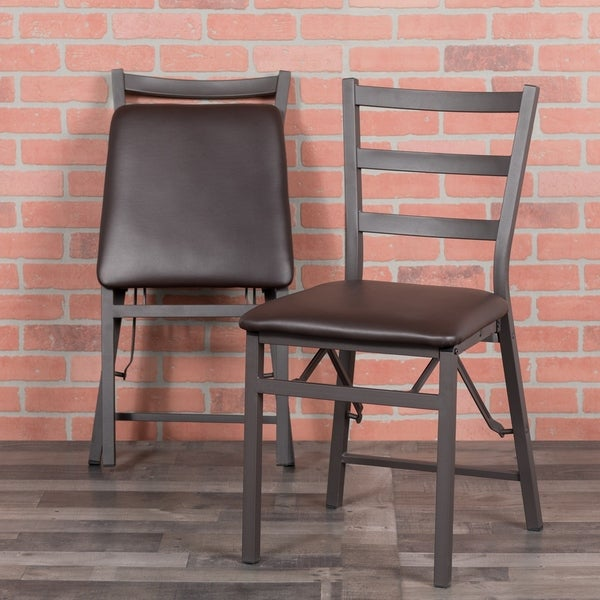 Shop Folding Ladder Back Metal Chair With Vinyl Seat